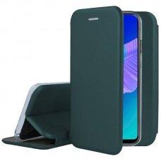 Akcija! Huawei P40 lite e atverčiamas dėklas Book elegance odinis tamsiai žalias