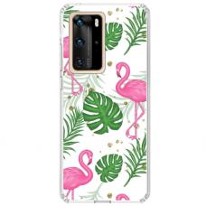 "Huawei P40 Pro TPU dėklas unikaliu dizainu 1.0 mm ""u-case airskin Flamingos design"""