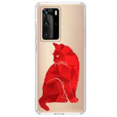"""Huawei P40 Pro TPU dėklas unikaliu dizainu 1.0 mm """"u-case Airskin Red Cat design"""""""