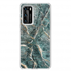 "Huawei P40 TPU dėklas unikaliu dizainu 1.0 mm ""u-case airskin Marble 1 design"""