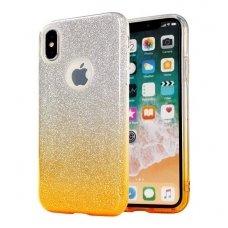 huawei p8 lite dėklas glitter silikonas sidabrinis-auksinis