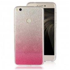 huawei p8 lite dėklas glitter silikonas sidabrinis-rožinis