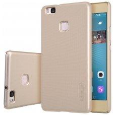Huawei p9 lite dėklas Nillkin Frosted Shield auksinis PC plastikas