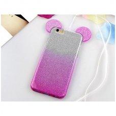Huawei Y5 2018 dėklas Bling Mouse silikonas sidabrinis-rožinis