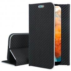 Huawei y6 2019 atverčiamas dėklas Vennus Carbon eco oda juodas