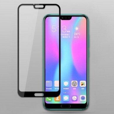 """Akcija! Huawei Honor 10 lenktas apsauginis grūdintas stiklas """"5D Full Glue"""" juodais kraštais"""