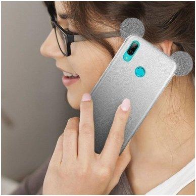 Huawei P smart 2019 dėklas Bling Mouse silikonas sidabrinis-juodas 3