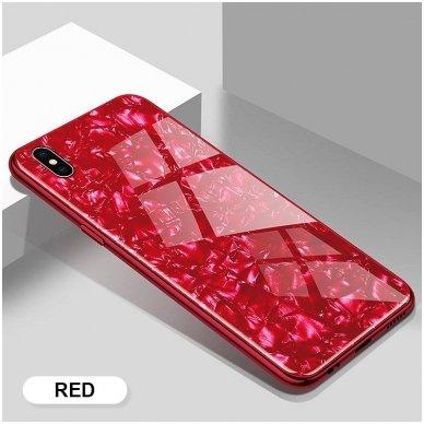huawei p smart 2019 dėklas marble glass grūdintas stiklas+tpu raudonas