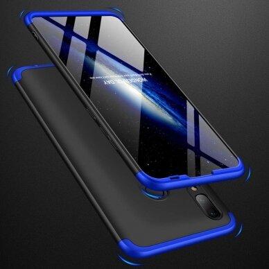 akcija!Huawei P Smart 2019 HURTEL dėklas dvipusis 360 plastikas juodas-mėlynas 4