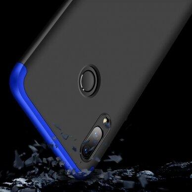 akcija!Huawei P Smart 2019 HURTEL dėklas dvipusis 360 plastikas juodas-mėlynas 5