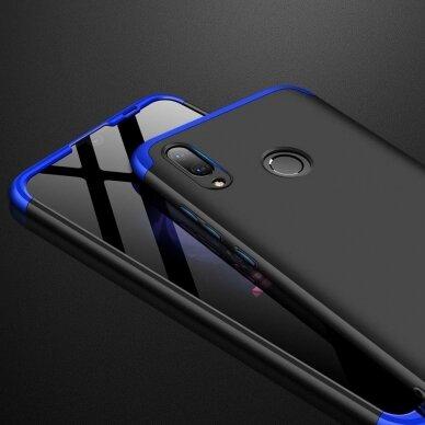 akcija!Huawei P Smart 2019 HURTEL dėklas dvipusis 360 plastikas juodas-mėlynas 6