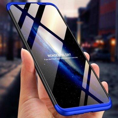 akcija!Huawei P Smart 2019 HURTEL dėklas dvipusis 360 plastikas juodas-mėlynas 3