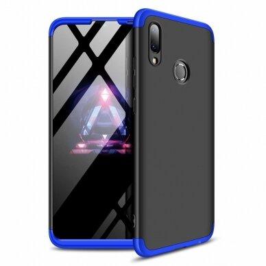 akcija!Huawei P Smart 2019 HURTEL dėklas dvipusis 360 plastikas juodas-mėlynas