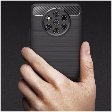 Nokia 9 pureview dėklas carbon lux silikonas juodas   3