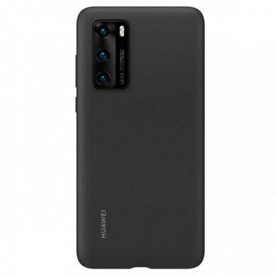 Akcija! Huawei p40 originali silikoninė nugarėlė Silicone Case juoda 2