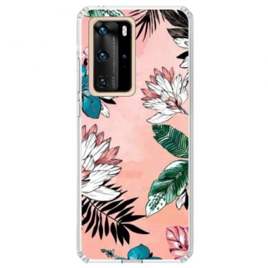 "Huawei P40 Pro TPU dėklas unikaliu dizainu 1.0 mm ""u-case Airskin Flowers 1 design"""