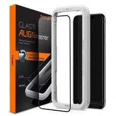 Akcija! iPHONE 11 pro max apsauginis stiklas su rėmu Spigen Align master juodais kraštais