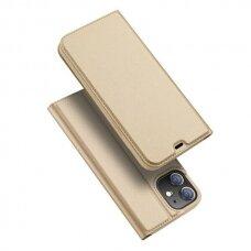 Iphone 12 pro max atverčiamas dėklas DUX DUCIS dėklai Skin Pro auksinis eko oda