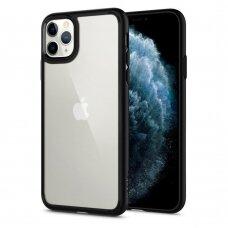 akcija! Iphone 11 aukštos kokybės dėklas Spigen Ultra Hybrid juodais kraštais