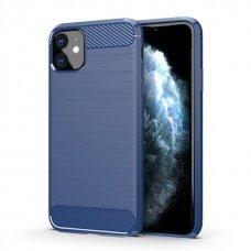 Akcija! Iphone 11 dėklas carbon lux silikonas mėlynas