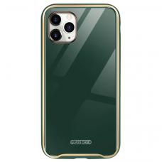 Iphone 11 dėklas Glass Case stiklas+tpu tamsiai žalias