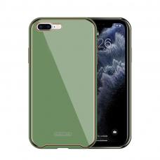 Iphone 8 dėklas Glass Case stiklas+tpu šviesiai žalias