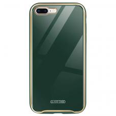Iphone SE 2020 dėklas Glass Case stiklas+tpu tamsiai žalias
