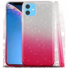 iphone 11 DĖKLAS GLITTER SILIKONINIS sidabrinis-rožinis