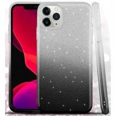 iphone 11 DĖKLAS GLITTER SILIKONINIS sidabrinis-juodas