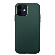 Iphone 12 pro max dėklas Leather Case odinis tamsiai žalias