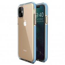 iphone 11 dėklas Spring Case  TPU  skaidrus žydrais kraštais