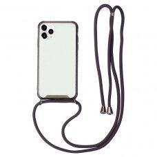 Akcija! iphone 12 mini dėklas su virvute Strap skaidrus-juodas