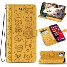 iphone 11 pro atverčiamas dėklas Cat-Dog PU oda geltonas