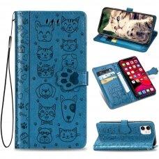 iphone 11 pro atverčiamas dėklas Cat-Dog PU oda mėlynas
