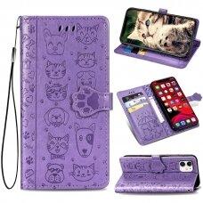 iphone 11 pro atverčiamas dėklas Cat-Dog PU oda violetinis