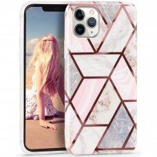 Iphone 11 pro dėklas Geometric Marmur silikonas rožinis
