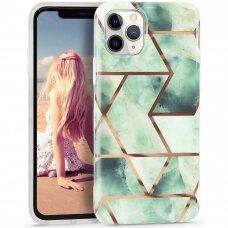 Iphone 11 pro dėklas Geometric Marmur silikonas žalias