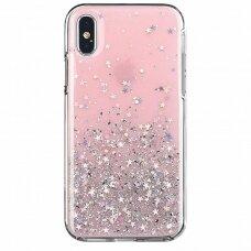 Akcija! Samsung A50 dėklas Wozinsky Star Glitter skaidrus rožinis