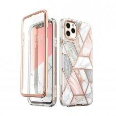 Iphone 11 pro dvipusis dėklas su ekrano apsauga Supcase Cosmo Marble rožinis