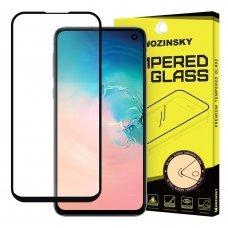 samsung galaxy s10e lenktas grūdintas apsauginis stiklas wozinsky H Pro 3D juodais kraštais
