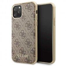 Akcija! iPhone 11 Pro originalus dėklas GUESS GUHCN58G4GB 4G COLLECTION rudas