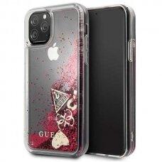 akcija! Iphone 11 pro originalus Guess dėklas Glitter Hearts raudonas