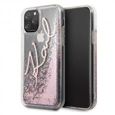 akcija! Iphone 11 pro originalus Karl Lagerfeld dėklas Glitter Signature rožinis