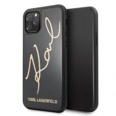 Akcija! iPhone 11 Pro originalus Karl Lagerfeld dėklas KLHCN58DLKSBK SIGNATURE GLITTER juodas
