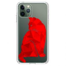 """Iphone 11 Pro TPU dėklas unikaliu dizainu 1.0 mm """"u-case Airskin Red Cat design"""""""