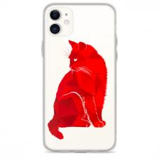 """Iphone 12 TPU dėklas unikaliu dizainu 1.0 mm """"u-case Airskin Red Cat design"""""""