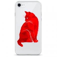 """Iphone SE 2020 TPU dėklas unikaliu dizainu 1.0 mm """"u-case Airskin Red Cat design"""""""