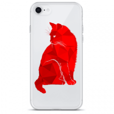 "Iphone 6/6s TPU dėklas unikaliu dizainu 1.0 mm ""u-case Airskin Red Cat design"""