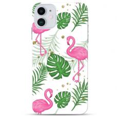 "Iphone 11 TPU dėklas unikaliu dizainu 1.0 mm ""u-case Airskin Flamingos design"""