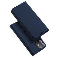 Iphone 12 mini atverčiamas dėklas DUX DUCIS Skin Pro tamiai mėlynas eko oda